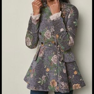 Brand New Venus Floral Peplum Double Breasted Coat